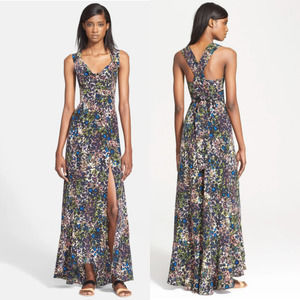 Tracy Reese Floral Criss Cross Silk Maxi Dress